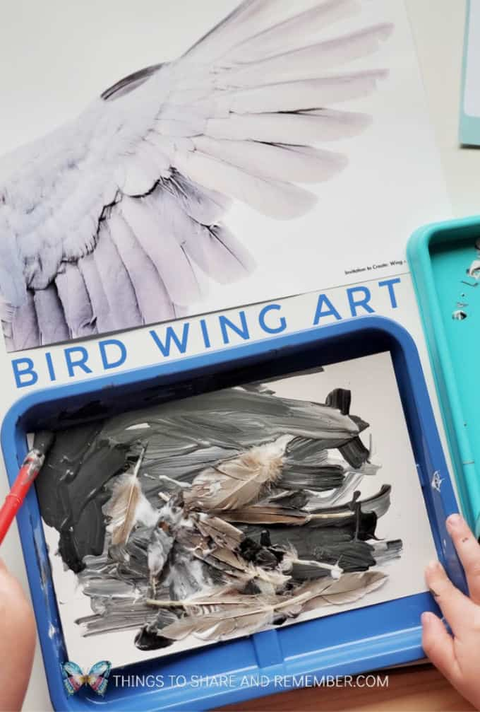 Bird Wing Art from Experience Preschool curriculum Birds & Eggs Theme