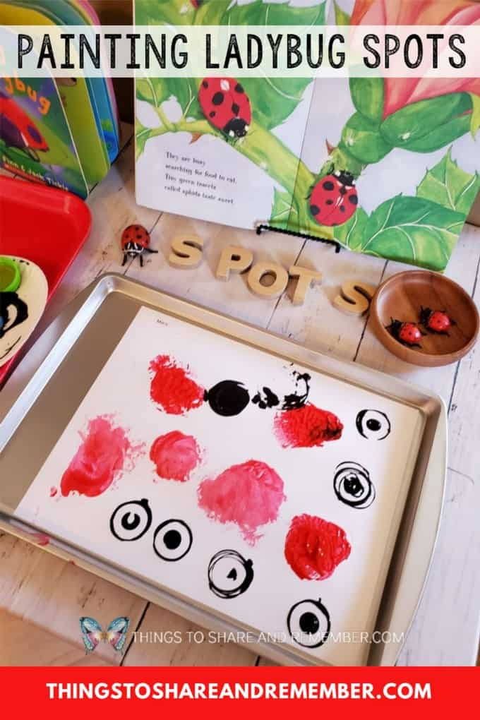 Painting Ladybug Spots activity table for preschoolers | STEAM Station from Experience Preschool Bugs & Crawly Things theme