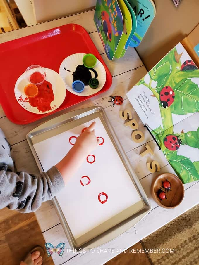 painting ladybug spots art activity