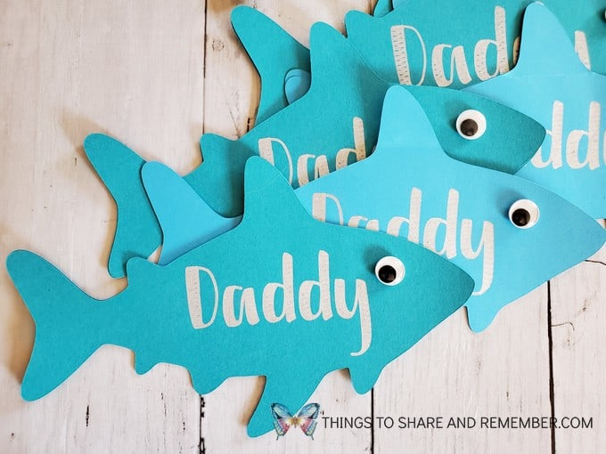 Daddy Shark Father's Day Card Cricut Project group of cards