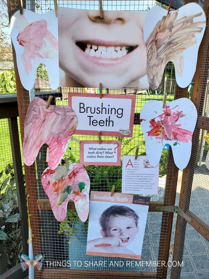 Brushing teeth art display
