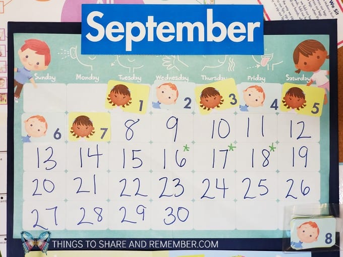 Meaningful Calendars for Preschoolers September grid