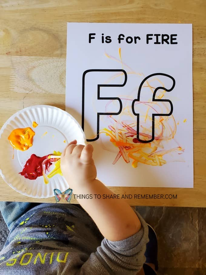 F is for Fire Coloring Page with paint