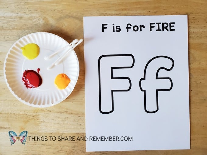 F is for Fire with paint