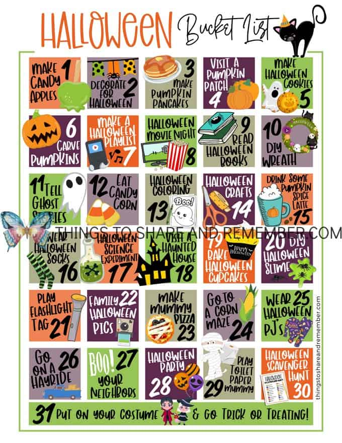 Count Down to Halloween Bucket List for families