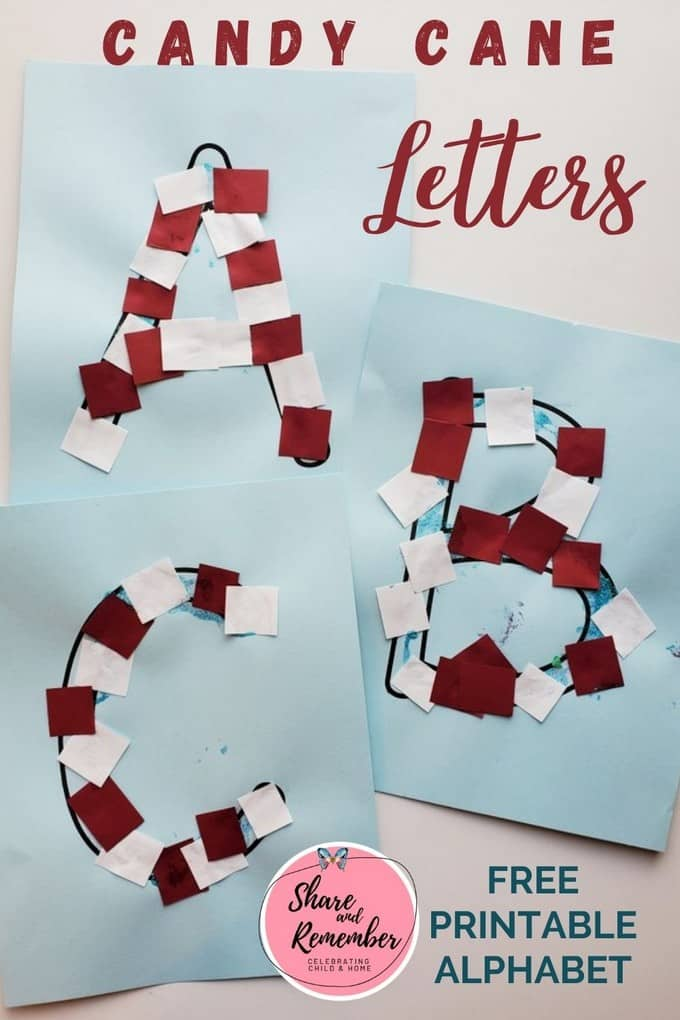 Candy Cane Letters - Share & Remember - free printable alphabet letters