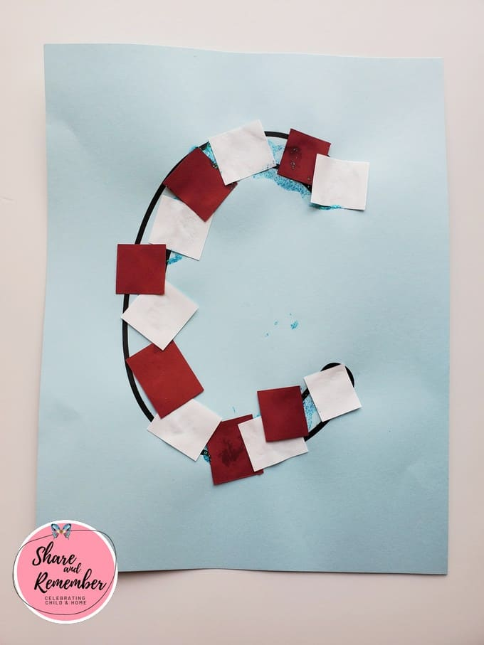 Letter C candy cane project