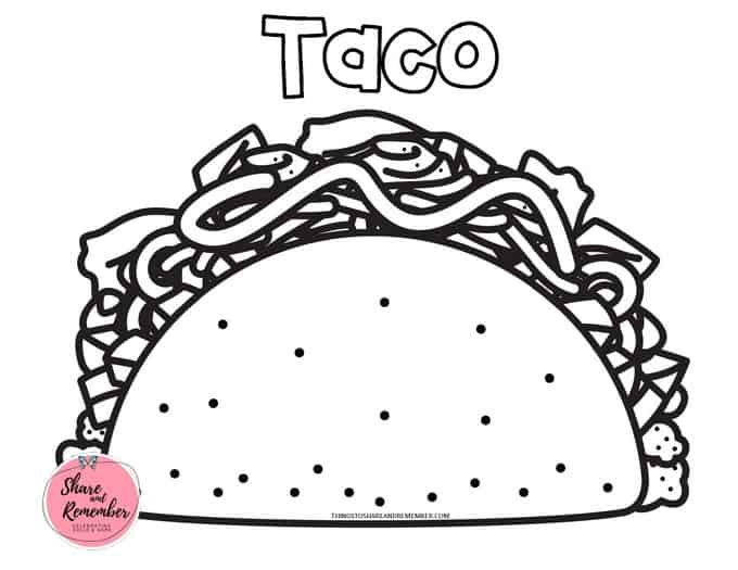 Taco coloring page for Dragons Love Tacos book