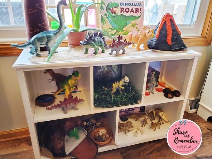 Dinosaur Habitat Play shelf in early childhood education envionrment