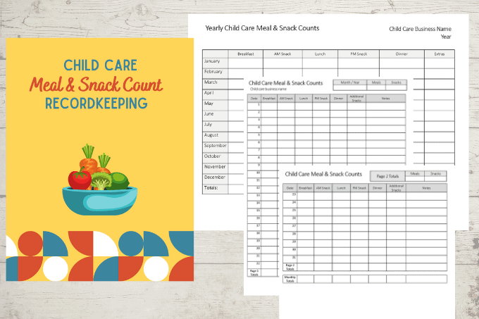 Child Care Meal & Snack Count Recordkeeping Forms