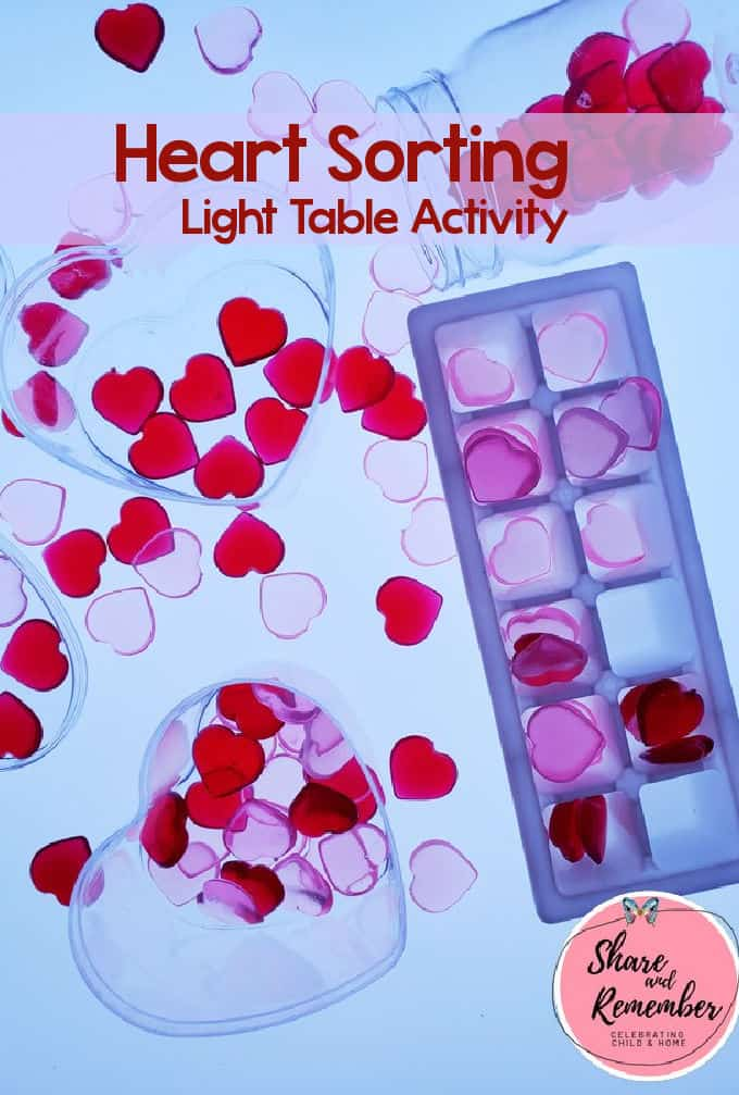 Sorting Hearts Light Table Activity