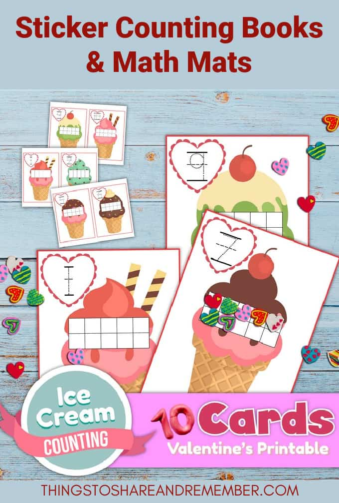 Valentine Ice Cream Counting 1-10 Printable Math Mats & Sticker Counting Books