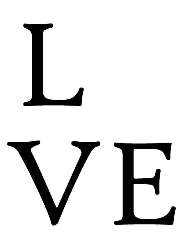 LOVE Handprint Valentine  template