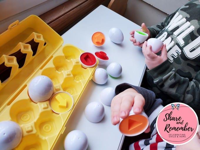 Dinosaur Eggs Preschool Activities shape matching.