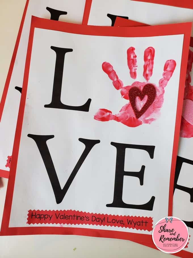 valentine Love Handprint for parents