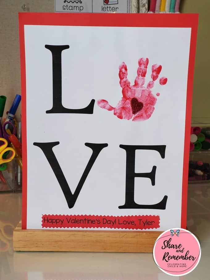 LOVE Handprint Valentine art example.