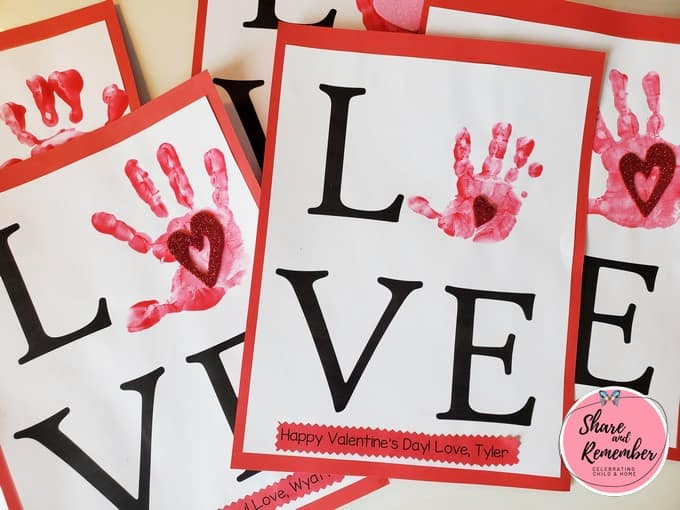 LOVE Handprint Valentine art
