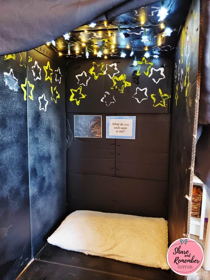Cardboard Box Planetarium dramatic play space for young children.