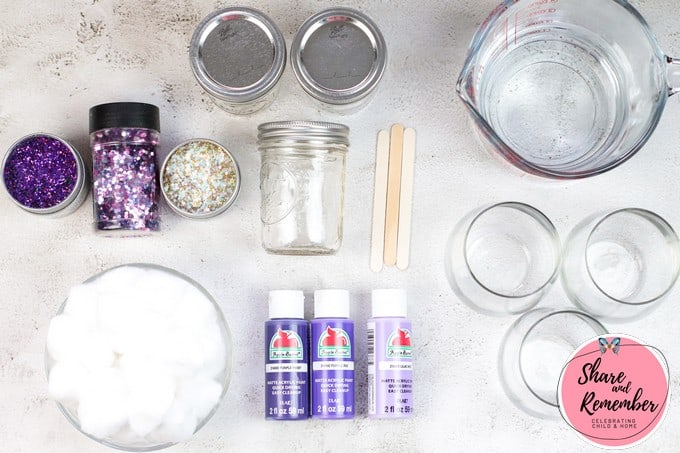 Supplies needed to make DIY Kids Glittery Ombre Galaxy Jars