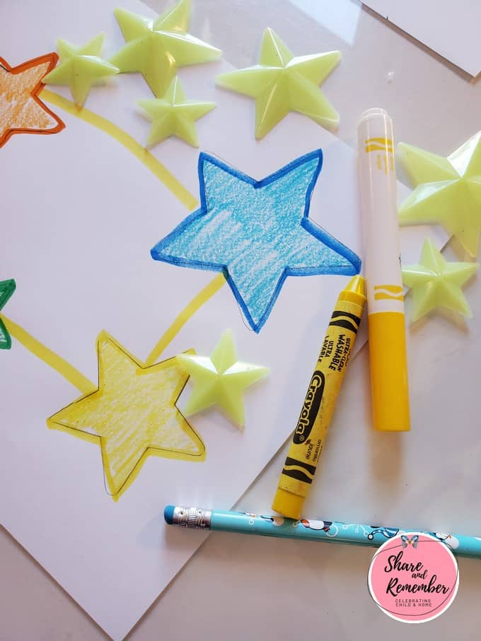 Yellow and blue stars with markers.