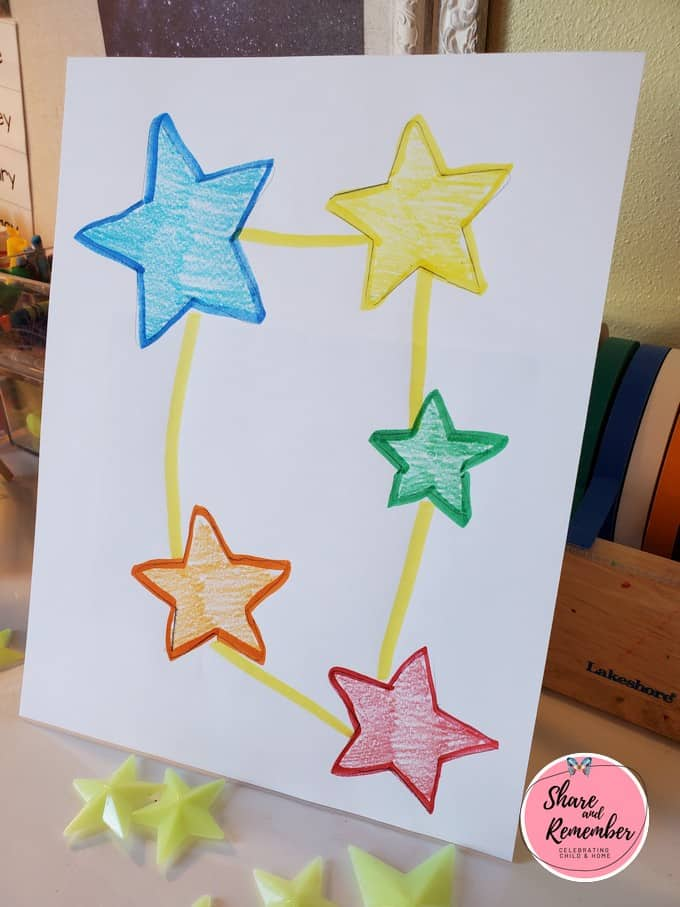 Primary colored star constellation drawing.