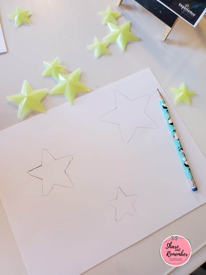 Stars drawn on paper.