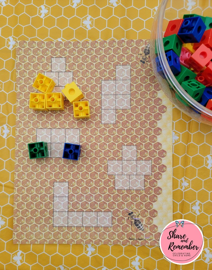 design a beehive math mat and connecting blocks