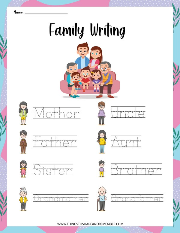 family word writing page