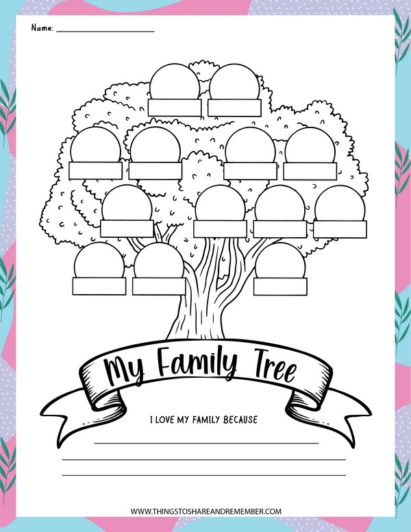 my family tree writing and coloring page