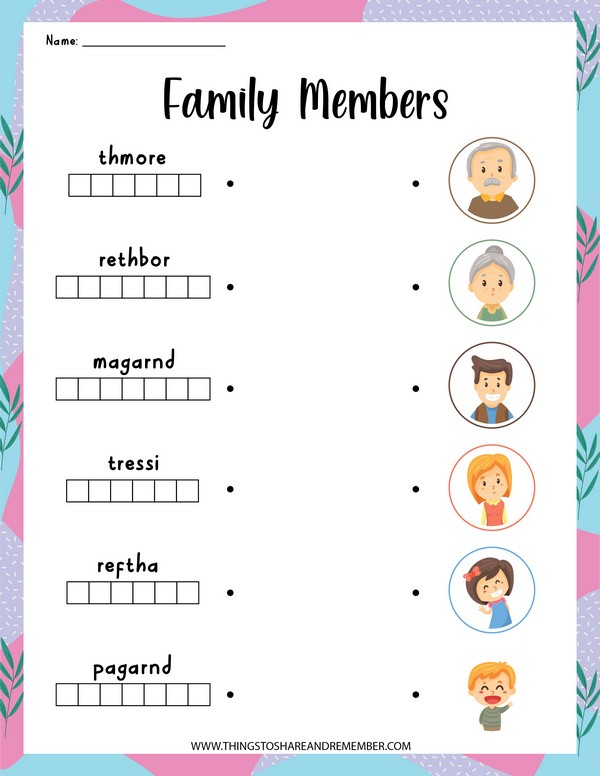 family members word puzzles
