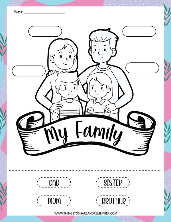 My family labeling & coloring page