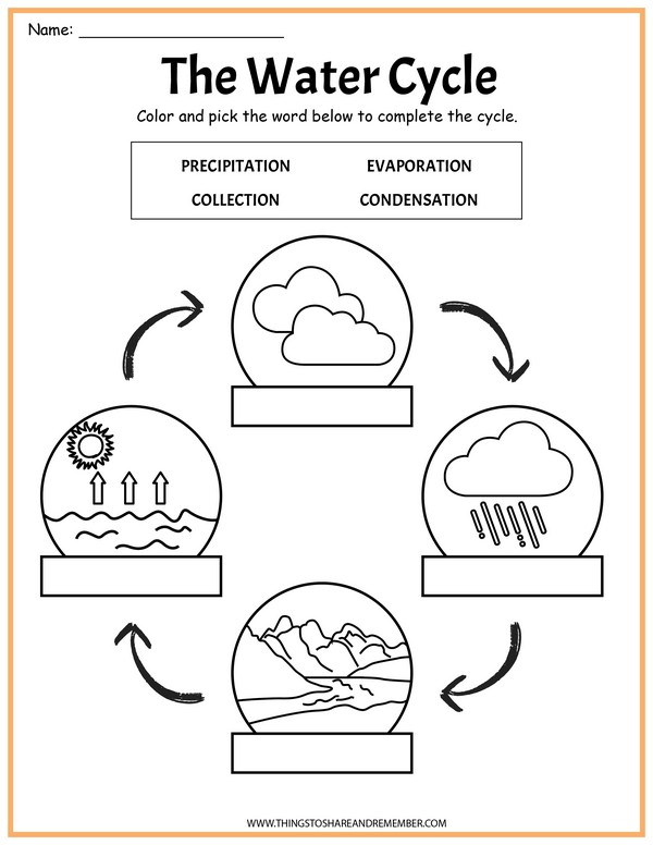 Label the Water Cycle Page