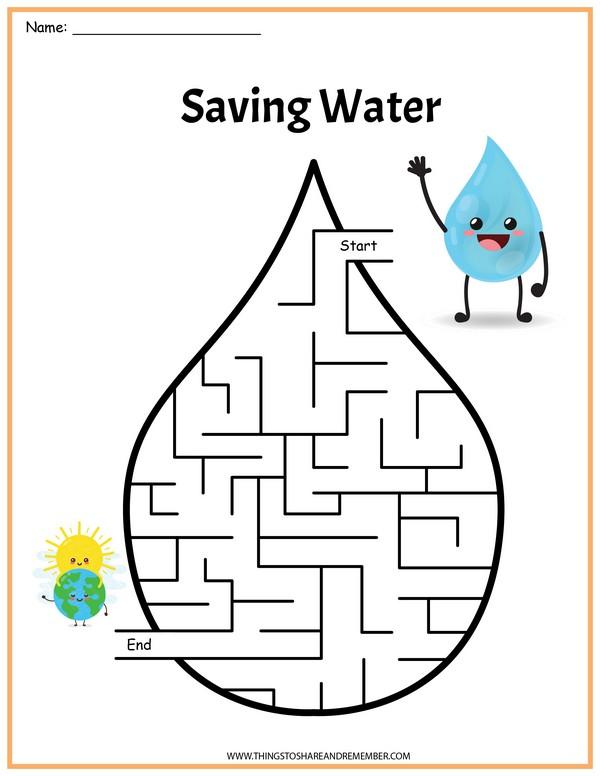 Water Cycle Printables Saving Water Maze