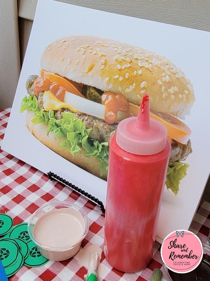 ketchup puffy paint for hamburger art